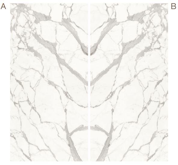 Calacatta Light Marble Effect Infinity Bookmatch