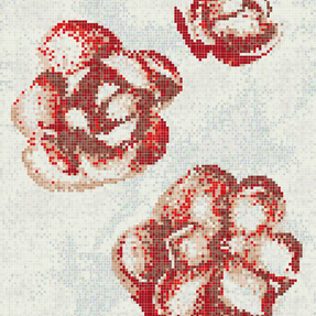 Abstract Red Gardenia Glass Mosaic