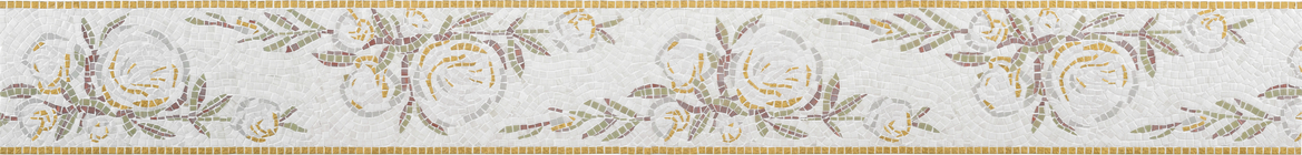 Golden Roma Princess Bloom Glass Mosaic Border