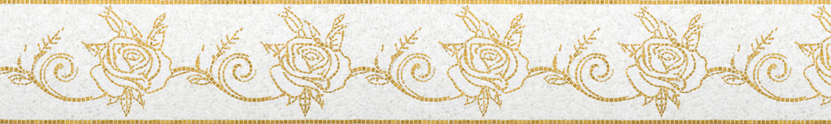 Golden Roma Queen Bloom Glass Mosaic Border