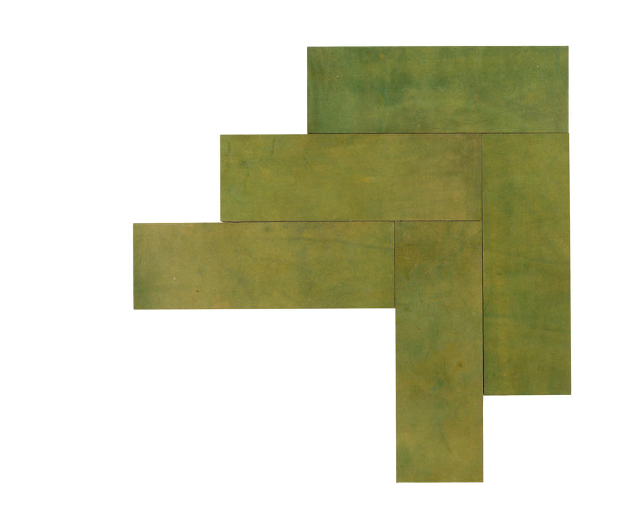 Natural Leather Tiles - Olive 3