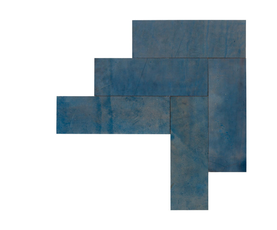 Natural Leather Tiles - Cobalt 3